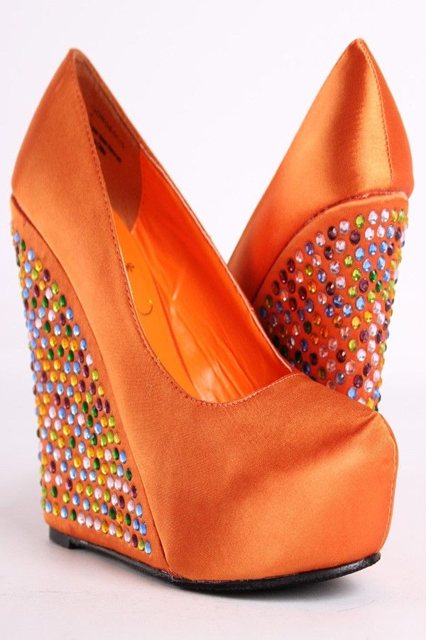 Orange Wedge Heels - Qu Heel