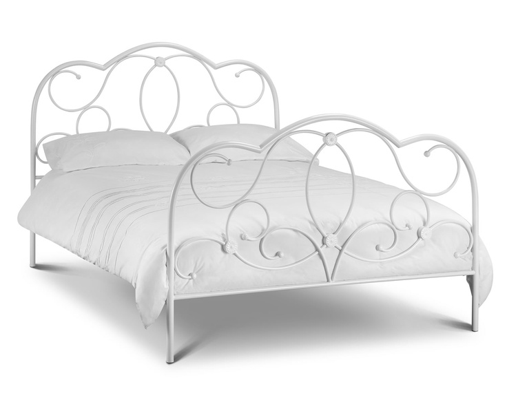 the julian bowen arabella stone white king size metal bed frame the arabella bed comes in stone white with a comfortable sprung slatted base - Metal Picture Frames