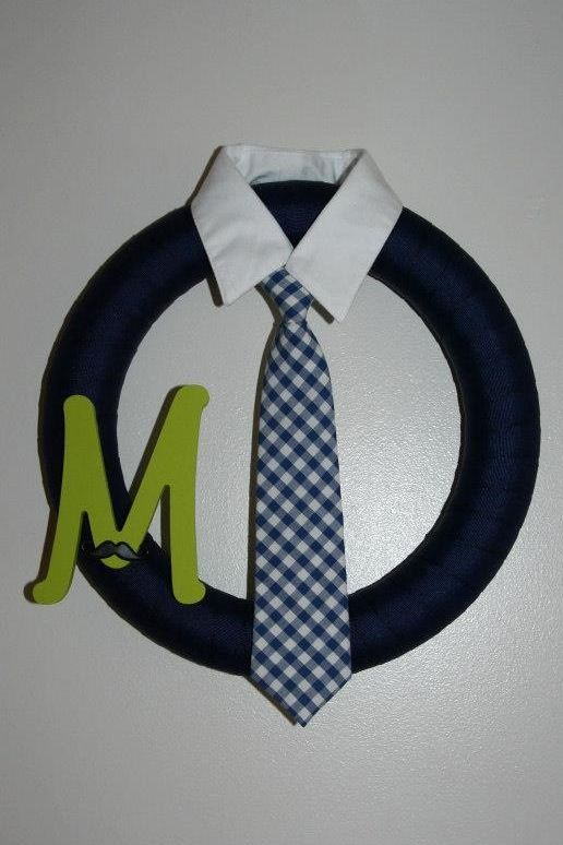 Baby Boy Wreath . Formal tie suit style with monogram.