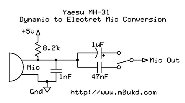 Yaesu MH31 Electret Condenser Mic Modification M0UKD