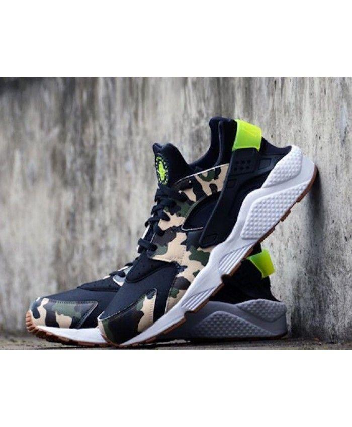 Chaussure Nike Huarache Custom Camo Beige Noir Blanche