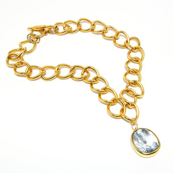 Big gold chains 25 pinterest vintage kenneth lane kjl big gold chain link necklace with sparkling headlight rhinestone pendant runway couture mozeypictures Images