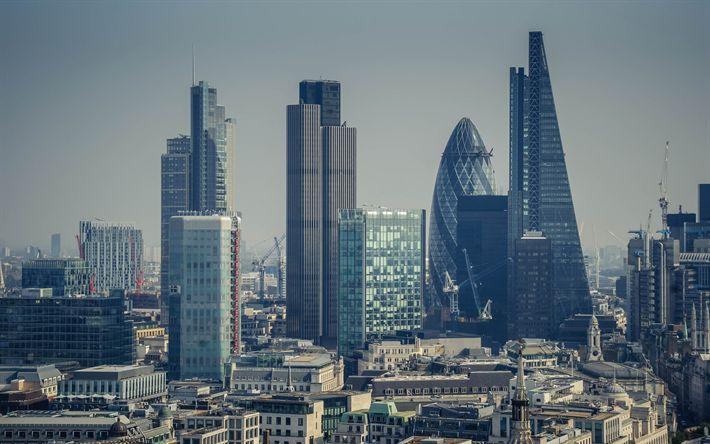Lataa kuva Lontoo, liikekeskukset, pilvenpiirtäjiä, 30 St Mary Axe, Leadenhall Building, Torni 42, Heron Tower, Sirpale, Yhdistynyt Kuningaskunta