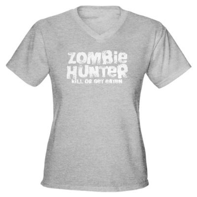 Zombie Hunter Funny Womens V-Neck Dark T-Shirt by CafePress