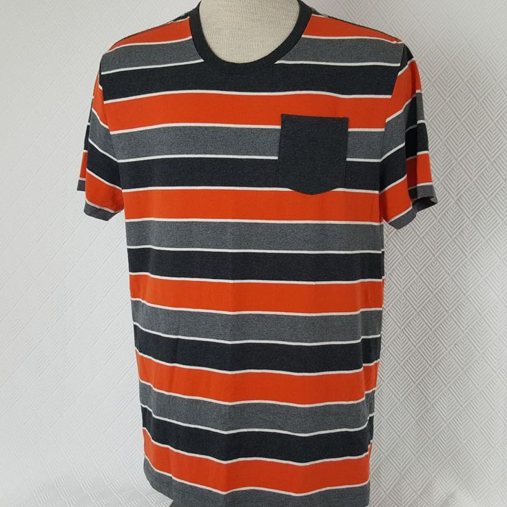 Puma Sport Lifestyle Mens T-Shirt Orange & Gray Striped Pocket SS Size Large #PUMA #GraphicTee