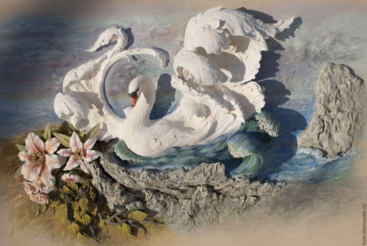 Купить или заказать Лебедь в интернет-магазине на Ярмарке Мастеров. Скульптурное панно.Ваяние.Роспись.