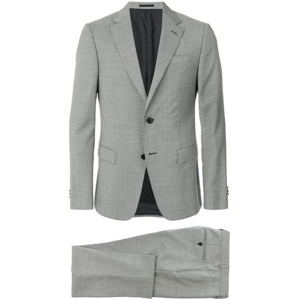 Z Zegna micro herringbone suit (1,378,780 KRW) ❤ liked on Polyvore featuring men's fashion, men's clothing, men's suits, grey, mens grey suits, mens gray suit, mens 3 button suits and mens herringbone suit