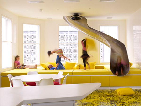to slide from one room to the next...that would be so legit!: Ideas, Interior, Indoor Slide, Kids Room, Dream House, Living Room, Playroom, Design