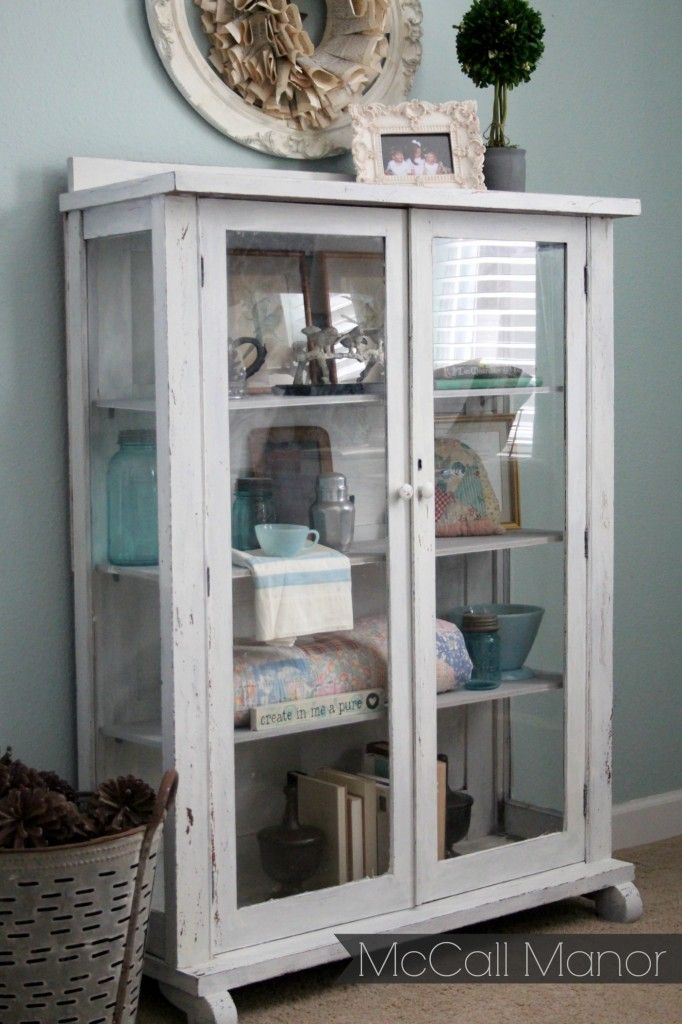 McCall Manor - hutch from trash to treasure with milk paint.  Use to store/display our old quilts...