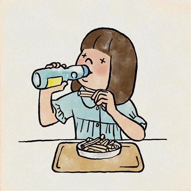 熱が出たのでお昼ごはん好きなの作るよってことで ポテトとラムネ 発熱 子供 ポテト ラムネ イラスト illustration character fictional characters