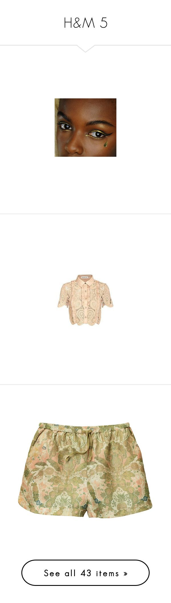 """""""H&M 5"""" by pocahaunted666 ❤ liked on Polyvore featuring tops, blouses, beige top, h&m blouse, beige blouse, button blouse, short sleeve tops, h&m, accessories and eyewear"""