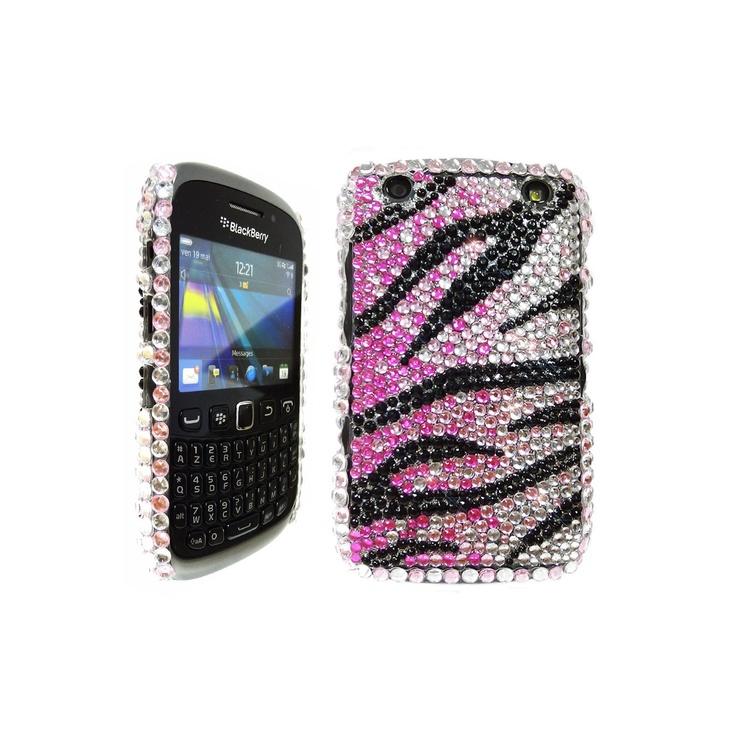 LOVE MY CASE / BlackBerry 9320 / 9920 Curve / Pink, Black & Silver Diamond Zebra Phone Case / Cover / Skin / NEW