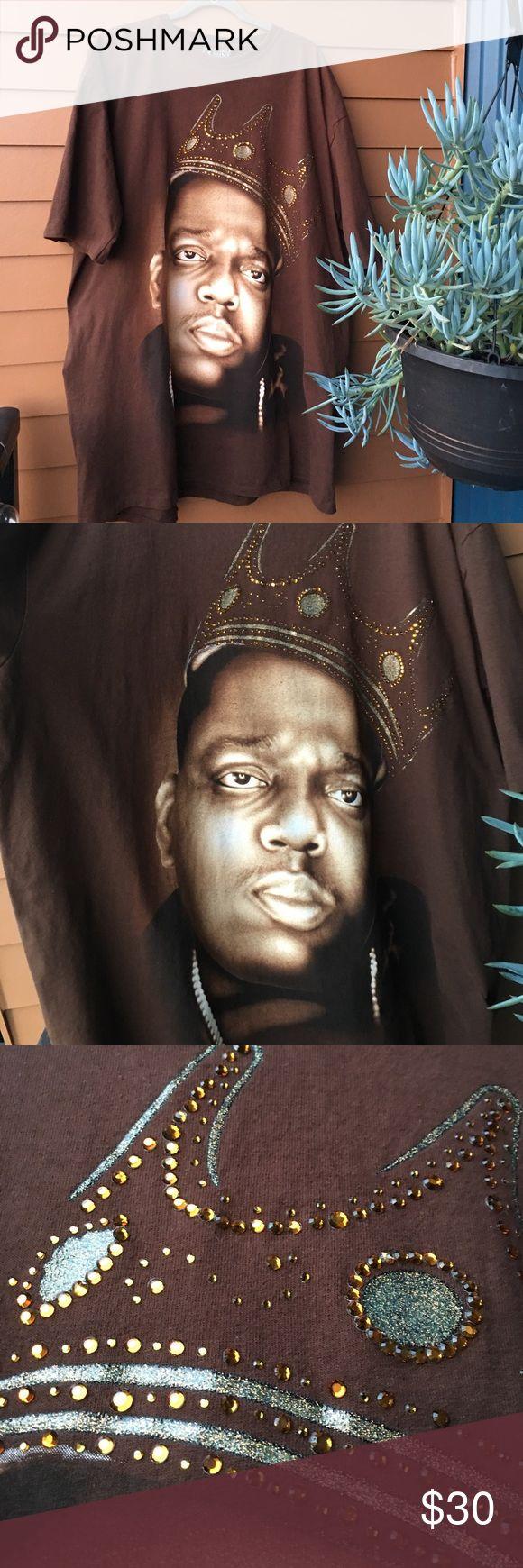 Brooklyn Mint: Notorious B.I.G t shirt Brooklyn Mint: Notorious B.I.G t shirt with jeweled crown on front of shirt / Brown / XXL / Worn a few times Brooklyn Mint Shirts Tees - Short Sleeve