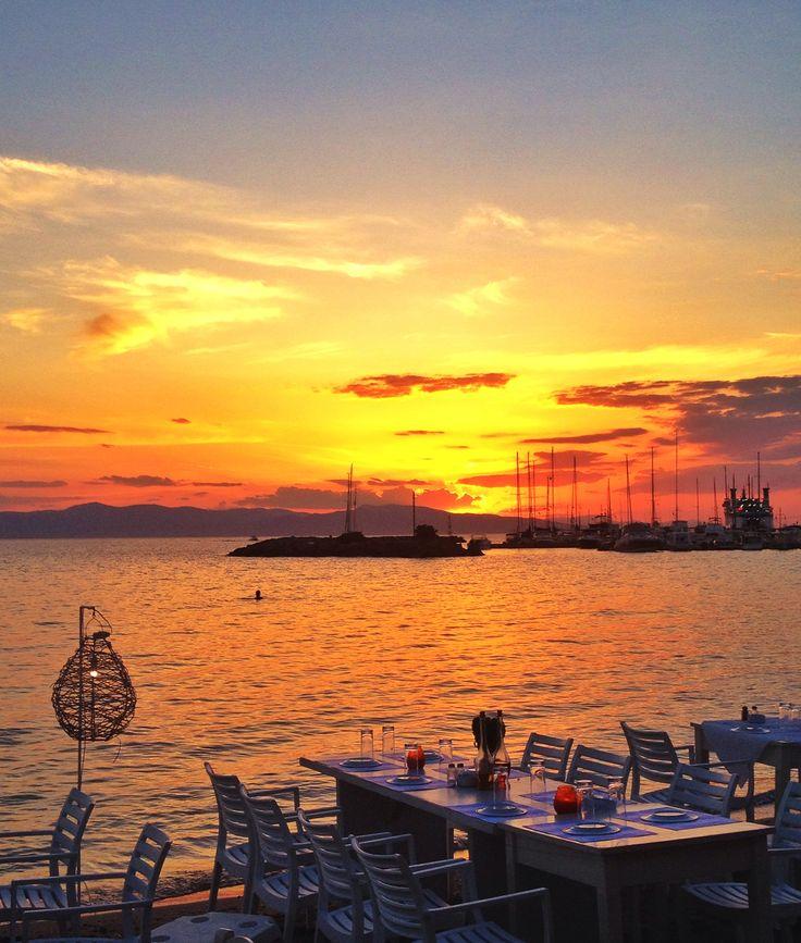 Classic greek restaurant on the beach. Aegina Island. 2015