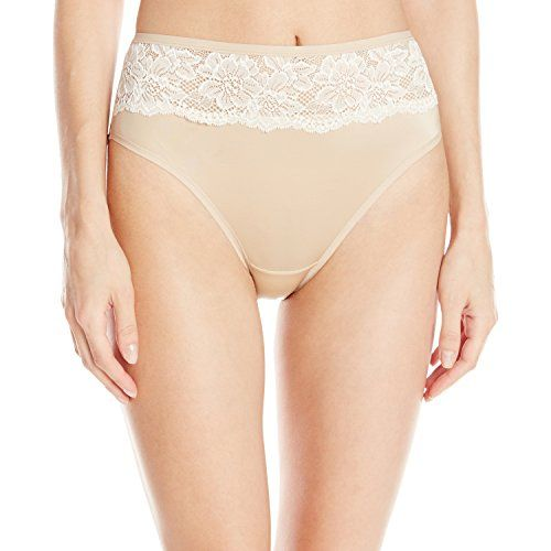 Bali Womens One Smooth U Comfort Indulgence Satin with Lace HiCut Panty NudeLight Beige Lace 6 >>> More info could be found at the image url.