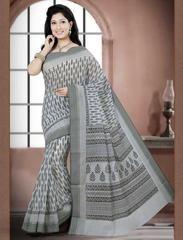 White & Black Color Cotton Daily Wear Sarees : Prabha Collection  YF-43107