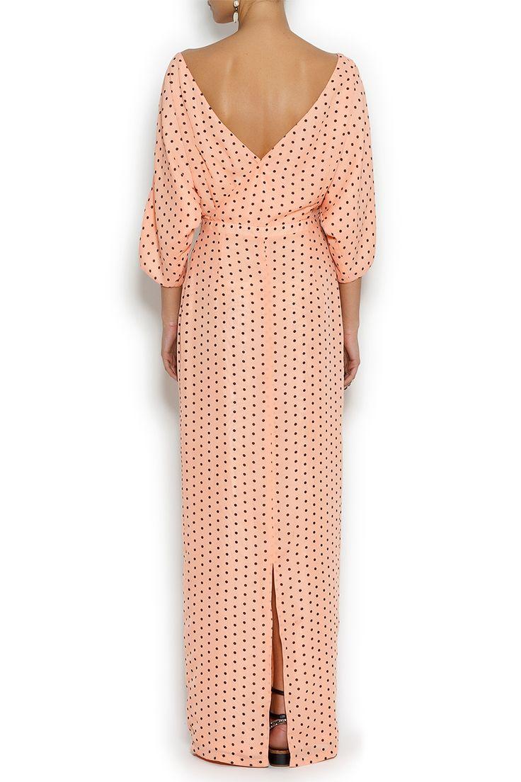 Платье макси из шифона в горох персиковое NATANIEL DOBRYANSKAYA