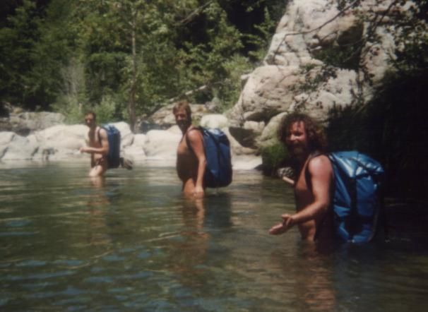 Micheal, Peter and Marco in the Arroyo Seco river, 1997