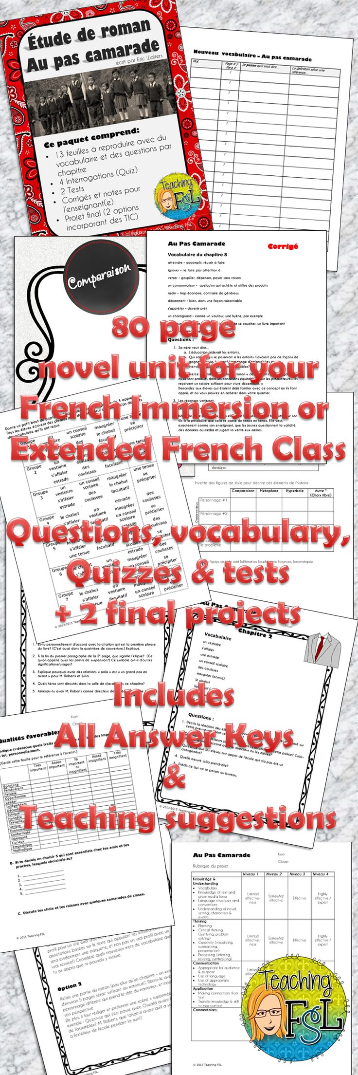 """Novel Study for grades 6-10 French classes (late entry immersion/extended or Early French Immersion) Au pas camarade (Eric Walters - French version of """"Branded"""")  Includes teaching & practicing writing Figures de style (Literary devices)"""