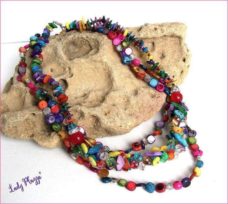 Collier/Sautoir multicolore acidulé - Perles, Nacre et métal : Collier par ladyplazza