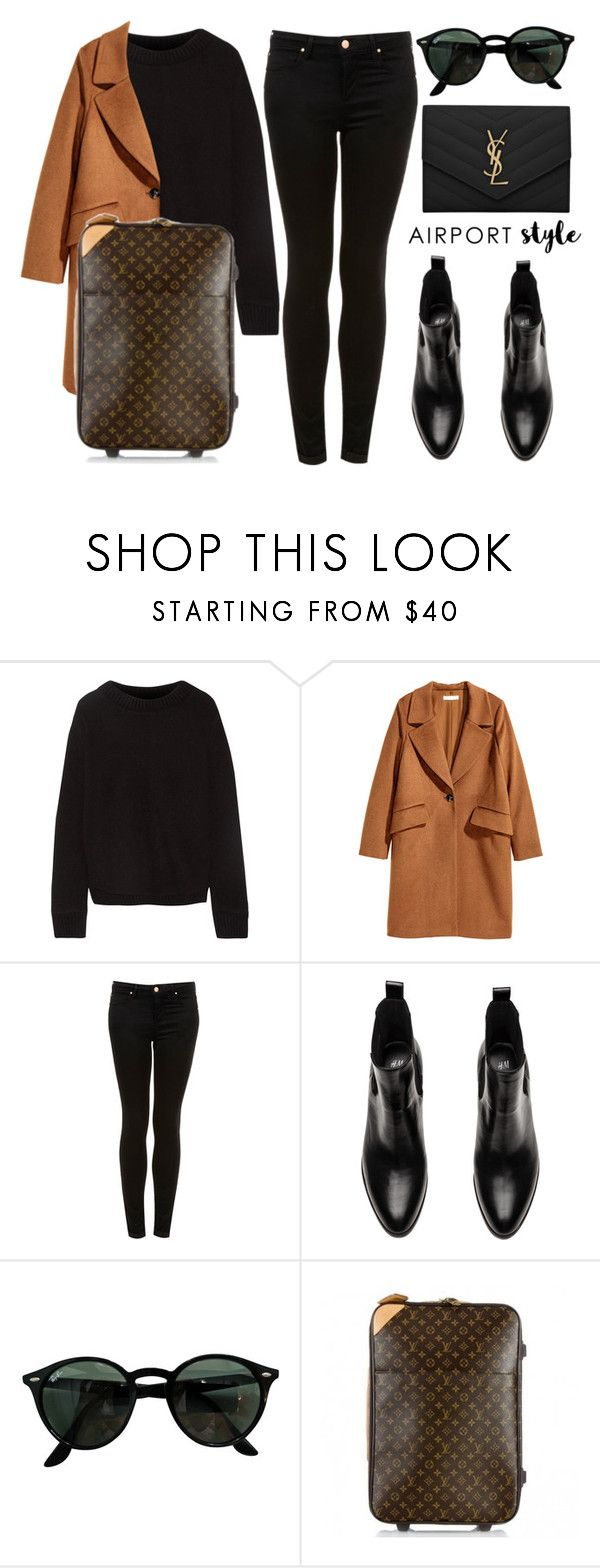 """""""Wanderlust Wonderful: Airport Style"""" by vany-alvarado ❤ liked on Polyvore featuring The Elder Statesman, H&M, Topshop, Ray-Ban, Louis Vuitton, Yves Saint Laurent and airportstyle"""