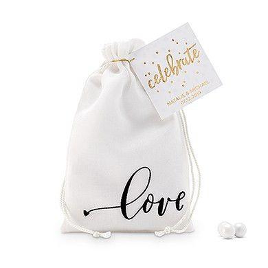 """love"" Print Muslin Drawstring Favor Bag - Small"