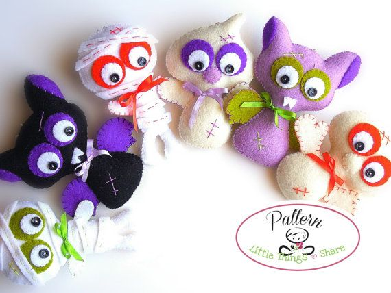 SET OF THREE HALLOWEEN ORNAMENTS (PDF)  This PDF document will give you instructions and patterns to hand-sew a set of three 4 X 3 inch HALLOWEEN ORNAMENTS: a sweet ghost, a lovely mummy, and a funny bat. Quick, easy, and fun to make, with their big, expressive eyes, these little friends will look perfect as part of your Halloween decor and are the ideal option to use as Halloween treats for your little ones, they are also ideal as party favors!  **You will receive an electronic file with…