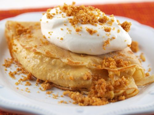 Cinnamon Crepes with Spiced Pumpkin Mousse and Graham Crumble - I would probably never make this but it looks delicious!