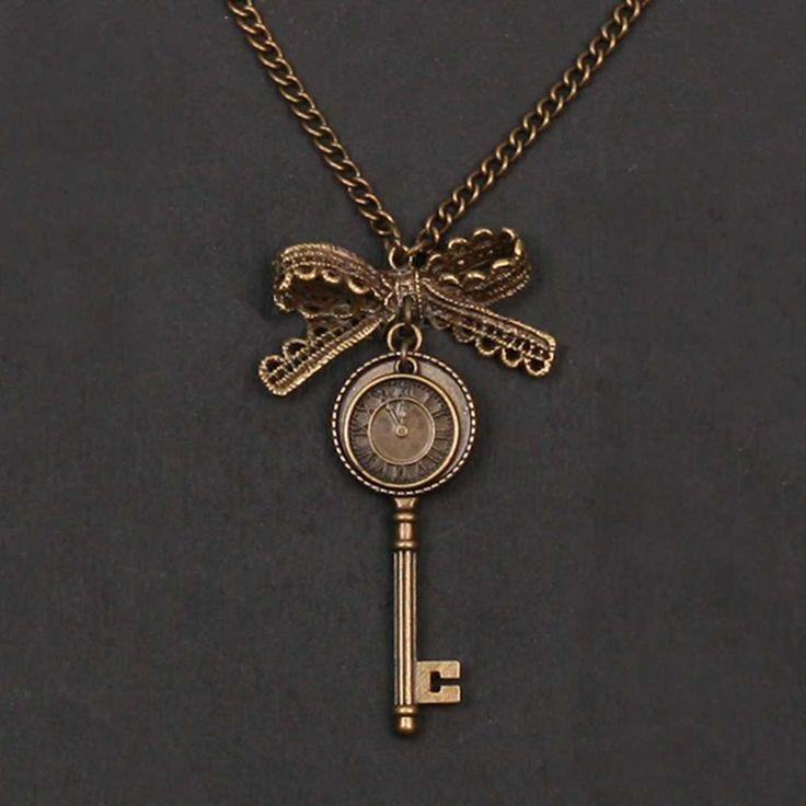 Poppenhuis sleutel ketting met strik detail brons - Gothic Steampunk Victoriaans