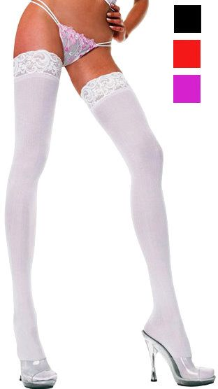 Plus Size Opaque Lace Top Thigh Highs - More Colors - Candy Apple Costumes - Browse All Plus Size Costumes