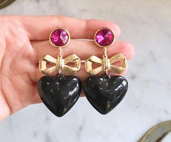 1980s purple and black dangle earrings