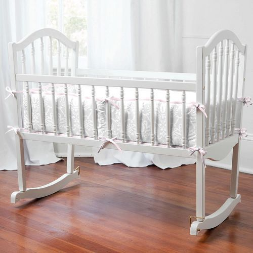 Pink and Gray Damask Cradle Bedding | Carousel Designs