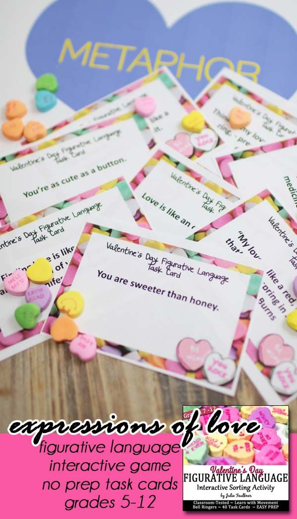 Valentine's Day Activity | Interactive Task Cards | Figurative Language | Middle-High School