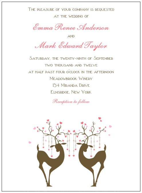 Deer Wedding Invitations. $2.50, via Etsy. | Wedding ...