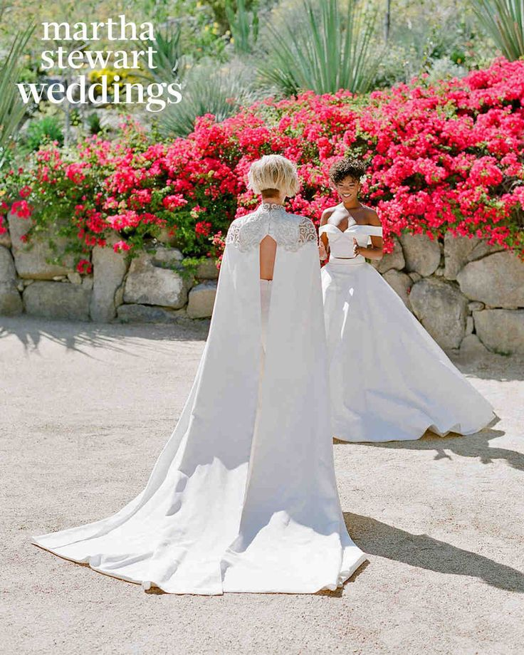 "Exclusive: See Samira Wiley and Lauren Morelli's Incredible Wedding Photos | Martha Stewart Weddings - The brides, both wearing custom designs by Christian Siriano, focused on each other during their first look. Even though Samira didn't want to see Lauren's outfit before the wedding, she broke her own rule during their final fittings at the designer's studio. ""It was just the two of us and I felt like I couldn't leave without seeing her,"" Samira says."