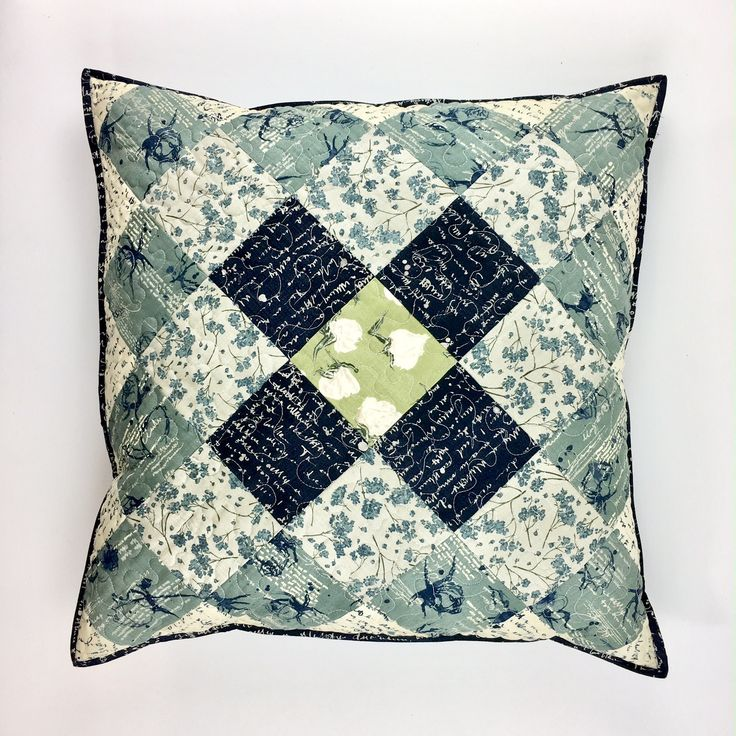 Squares cushion / pillow. Patchwork and quilting. Janet Clare fabric wordsmith