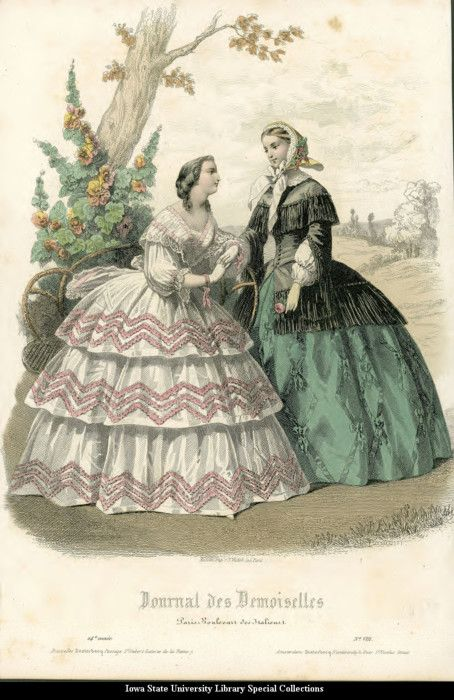 Day dresses, 1856 France, Le Petit Courrier des Dames