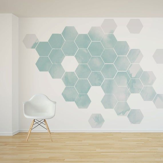 Watercolor Removable Honeycomb Wall Decal 32 Hexagon Etsy Wall