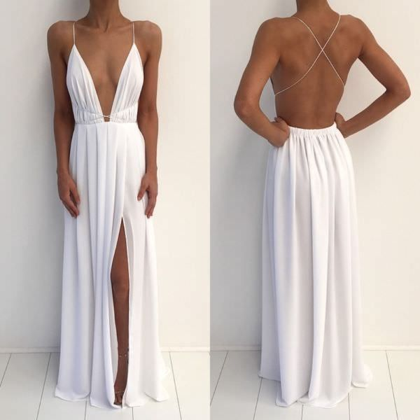 White Chiffon Deep V Neck Floor Length Side Slit Spaghetti Strap Long Maxi Dress, Prom Dress, Party Dresses