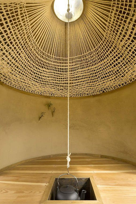 rope ceiling2 4 Japanese Interiors, Black Teahouse, Unique Architecture, Ceilings Design, A1Architect, House Architecture, Tea Houses, A1 Architects, Teas House