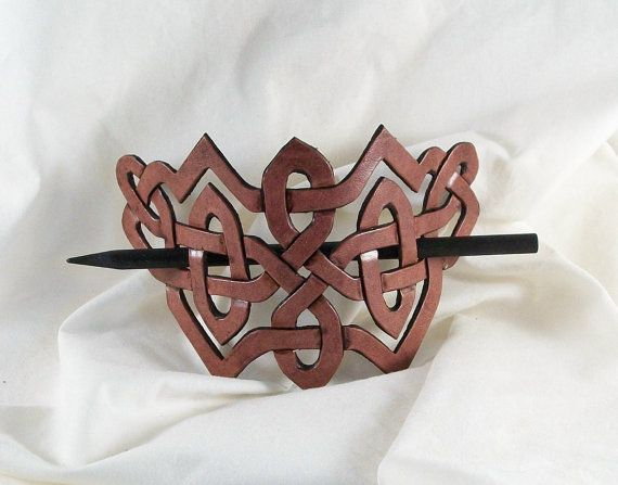 Leather Celtic Knot barrette in raisin mahogany