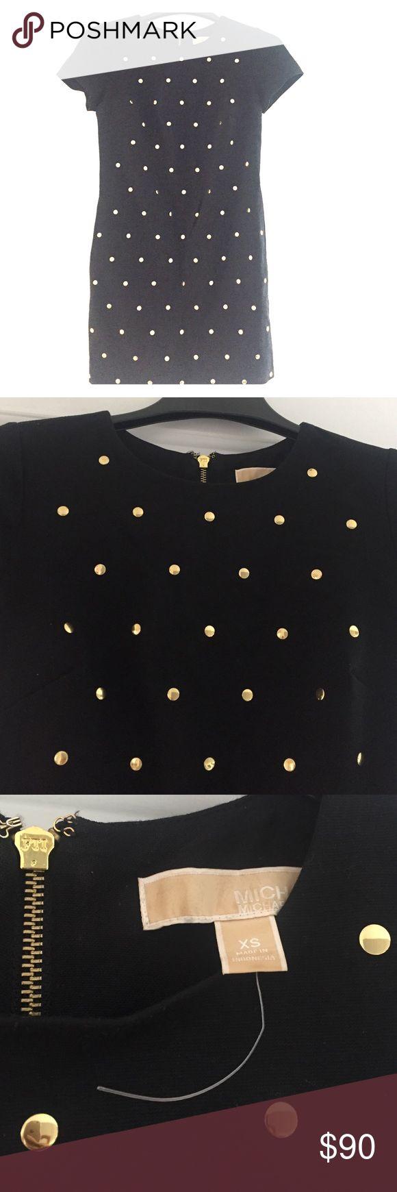 Michael Kors navy cap sleeve shift dress Navy blue cap sleeve shift dress with metal dot throughout front. Worn once MICHAEL Michael Kors Dresses