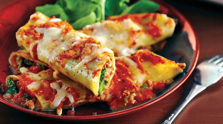 Manicottis au veau, au fromage ricotta et à la bette à carde #IGA #Recettes #Pâtes