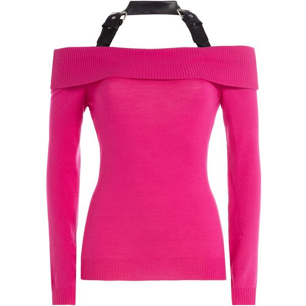 Moschino Off-the-Shoulder Wool Top ($425) ❤ liked on Polyvore featuring tops, sweaters, pink, pink off the shoulder sweater, fitted sweater, belted sweater, off shoulder sweater and pink top