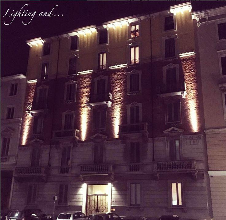 Facade illumination in Milan by lightingand.  #lightingand #luce #calda #project #facciata #facade #milano #italy #project #progetto #illuminazione #illumination #esterno #outdoor #warm #proiettore #faretto #lampada #design #disegno #Iguzzini