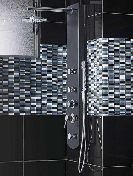 Sensi dacqua columna de ducha 3 jets negro 120 x 24 cm for Griferia ducha homecenter