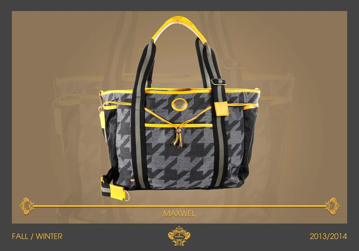 Macro pied de poule in matching grey shades. Black lateral pockets and big front pocket with yellow leather details. Adjustable webbed shoulder strap. MAXWEL is full of functional details that will let you enjoy your days! #orobiancoessere F/W 2013/2014