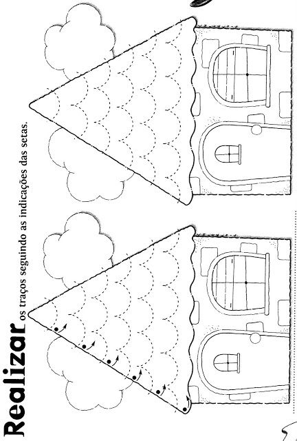schrijfpatroon voor kleuters, thema huizen, free printable