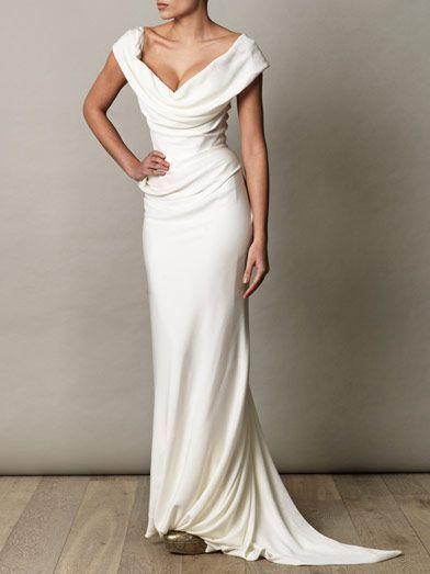 Simple Elegant Sheath Sweep Train Wedding Dress for Older Brides Over 40, 50, 60, 70. Elegant Second Wedding Dress Ideas.                                                                                                                                                                                 More