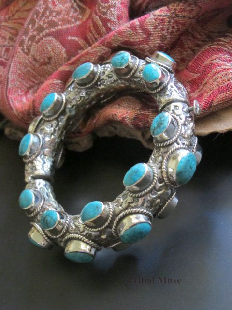 Replica of Antique Tibetan Jewelry Turquoise Bracelet